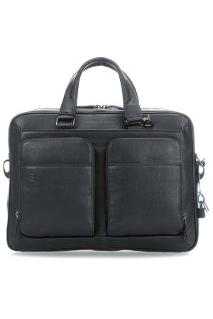 Piquadro Laptoptassen Black Square Portfolio Computer Briefcase with iPad Compartiment