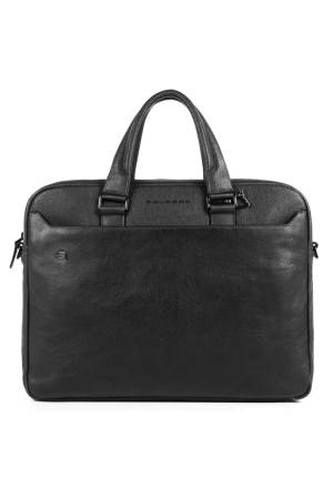Piquadro Black Square Two Handle Briefcase with two 10.5/9.7 laptop zwart | Wennekes.nl